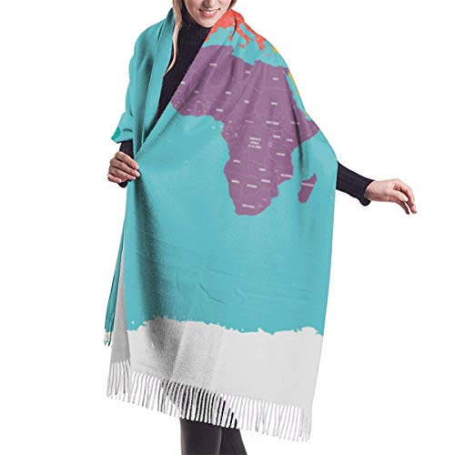 maichengxuan Political Map World Antarctica Continents Blue White Labels States Women'S Blanket Winterschal Warm Wrap Oversized Shawl Cape 77X27 Inch