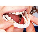 Instant Smile, 1 par de dientes cosméticos temporales dentadura superior + soporte inferior, ajuste cómodo, dientes cosméticos blanqueadores tapa instantánea