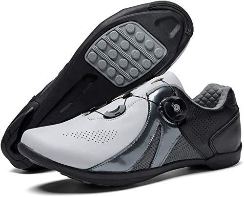 JINFAN Road Cycling Shoes,Men's Bicycle Shoes,Lightweight Wear Resistant Bike Footwear Road Bike Shoes Mountain Bike Shoe,43 EU White