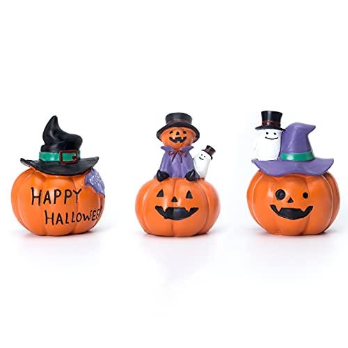 QPURP Halloween Miniature Pumpkin Figurines Set of 3,Witch Hat or Mini Ghost on Pumpkin Halloween...
