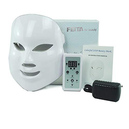 FEITA - Maschera per terapia con fotoni di luce, a LED, 7 colori, trattamento anti invecchiamento, riduce le rughe, per la cura del viso