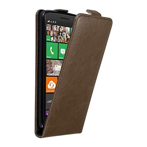 Cadorabo Hülle für Nokia Lumia 930 in Kaffee BRAUN - Handyhülle im Flip Design mit unsichtbarem Magnetverschluss - Hülle Cover Schutzhülle Etui Tasche Book Klapp Style