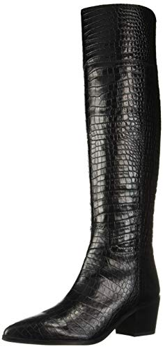 Franco Sarto Damen Shannon modischer Stiefel, Schwarzes Krokodilleder, 38 EU