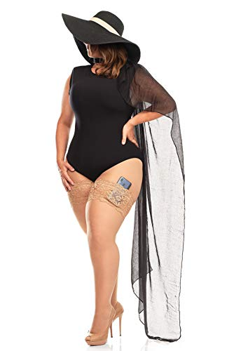 PARAISO CURVY Bandas anti roces en Tallas Grandes, de blonda elástica, y con bolsillo para tu móvil. Sin heridas y sexy este verano. Fabricación Europea. (Natural, 60cm-72cm)