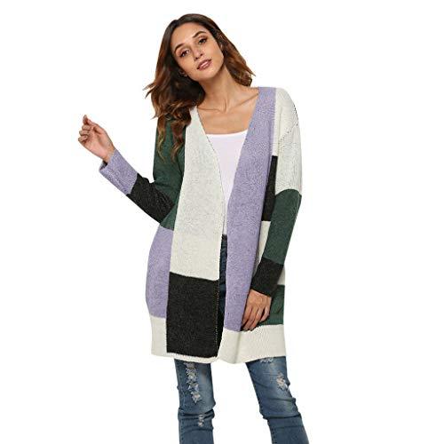 Lazzboy Frauen Pendler Strickjacke Große Größe Lose Jacke Damen Cardigan Pullover Lang Kontrastfarbe Strickmantel Mantel(Grün,M)