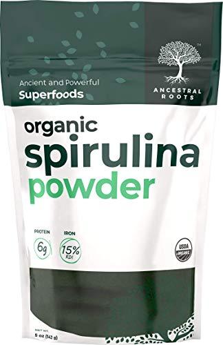 Ancestral Roots Organic Spirulina Powder - 100% Pure, USDA Certified Organic Spirulina Powder -5oz (1 Count)