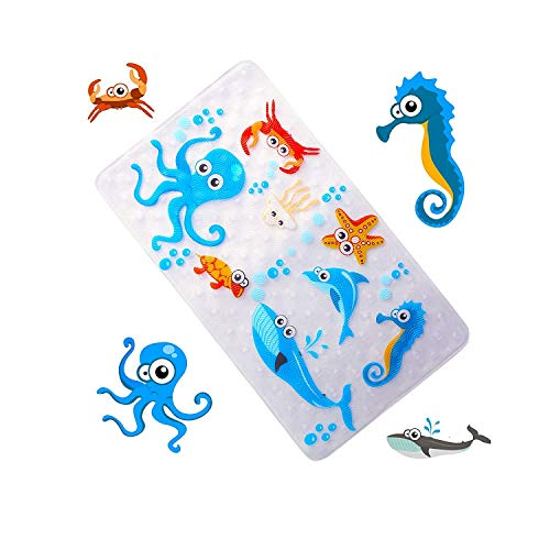 "WARRAH Non Slip Bath Mats for Tub for Kids,Babies,Childrens,Toddlers,Size 27.5"" L x 15.7"" W,Slip Resistant Grippers Bathtub Mats for Shower,Machine Washable (Sea World FHD-01)"