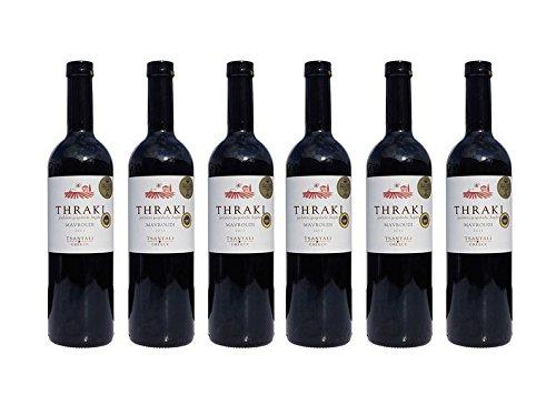 6x Thraki Mavroudi - Spar Set - Rotwein trocken je 750ml 13,5% Tsantali griechischer roter Wein aus Chalkidiki 6 Monate gereift + 10ml Olivenöl Testsachet