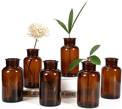 Amber Glass Vase Bud Vases Apothecary Jars Decorative Glass Bottles Small Glass Flower Vases product image