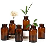 Amber Glass Vase, Bud Vases, Apothecary Jars, Decorative Glass Bottles, Small Glass Flower Vases, Vintage Medicine Bottles for Home Decor Centerpiece, Wedding, Bridal Shower, Events, Set of 6