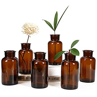 """Bud Vases, Apothecary Jars, Decorative Amber Tall Bottles, Elegant Antique Decoration, Small Glass Flower Vases, Vintage… - ANTIQUE STYLE - Vintage style amber bottles are essential decorations for any wedding, event, or dinner party or for displaying flowers in your home. UNIQUE HOME DECOR - Place these vintage bottles on a shelf or table to add class to your space. Approximate Dimensions - 6.37"""" Tall & 3.14"""" in Diameter. Sold as a set of 6.Hand wash recommended,not suitable for use in a dishwasher. - vases, kitchen-dining-room-decor, kitchen-dining-room - 41G57GK84DL. SS400  -"""