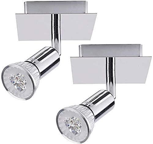 SFSGH Moderno Paquete de 2 focos de Techo LED con focos de Techo LED de Interior de 3 W con focos de Techo Ajustables Lámpara de Techo incluida 90 & deg;Diseño Giratorio Montaje en supe