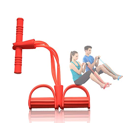 XLanY Sit-Up Rallye Yoga Widerstand Band Mit Fußpedal Rallye, Stretch Rope Tube Tensioner, Bauch Taille Exerciser Fitness Elastische Seil Home Gym Sport Training Ausrüstung,Rot