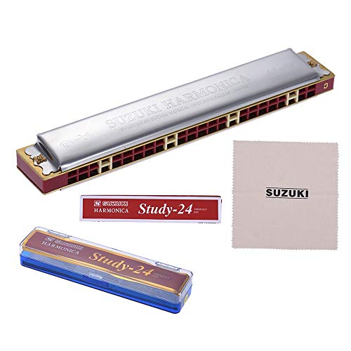 Green-Valley113 - Suzuki Study-24 24 Holes Harmonica Tremolo Key of C with Cleaning Cloth Box Musical Instrument for Beginner