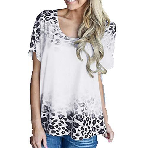 SLYZ Primavera Y Verano para Mujer Nueva Camisa De Fondo con Estampado De Leopardo Degradado Cuello Redondo Camiseta De Manga Corta Top para Mujer