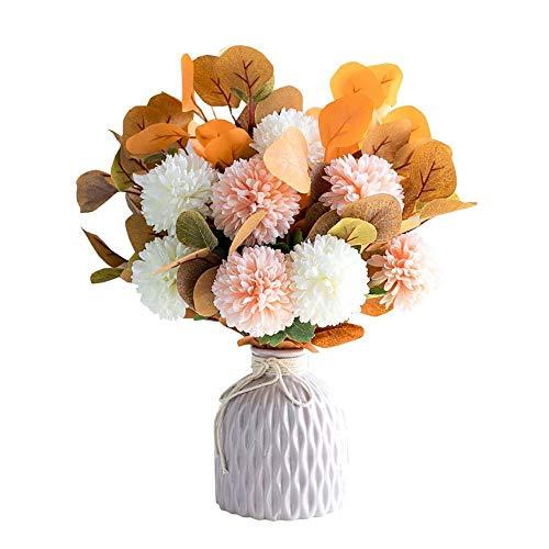 Atlnso - Ramo de flores artificiales con maceta de plástico, hortensia, decoración de boda, oficina, hogar, color naranja