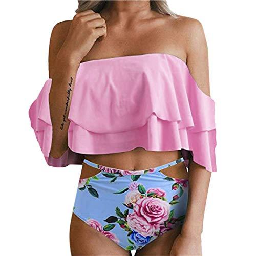 Auifor◕‿◕Conjunto de Bikini de Cintura Alta con Estampado de Damas Push Up Acolchado Traje de baño Traje de baño