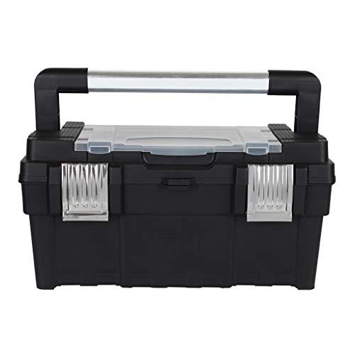 Gereedschapskist Alloy Long Handle Toolbox huishouden dubbel draagbare kunststof hardware Tool opbergdoos (zwart) gereedschapskist Small