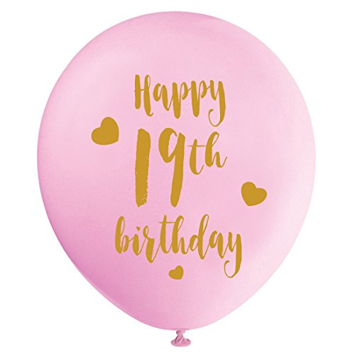 Pink 19th Birthday Latex Balloons, 12inch (16pcs) Girl Gold Happy 19th Birthday Party Decorations Supplies