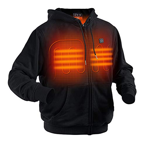 CLCCON Heated Hoodie Heated Fleece with Battery Pack Unisex Black S/M/L/XL/XXL (X-Large)