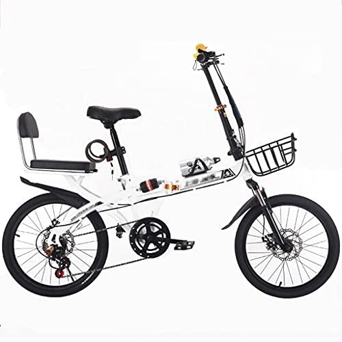 Bicicleta para niños Bicicleta MTB Plegable de 60 Pulgadas y 20 Pulgadas Bicicleta de Montaña de Velocidad Variable Asiento Ajustable con Frenos de Disco Doble y Amortiguadores Bicicleta de Ciudad