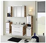 Pelipal - FOKUS 07-3050 - Badmöbel-Set - 80 cm - 6-teilig mit Spiegelschrank, Keramik-Waschtisch usw. in weiß Hochglanz/Eiche Ribbeck NB, EEK: A+ (Spektrum A++ - A)