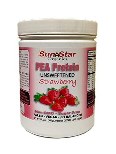 Pea Protein Powder- Unsweetened, Strawberry Flavor with Beet Powder & Vanilla Flavor - Soy Free, Non-GMO 17.6oz