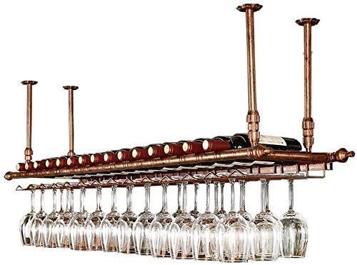 Estante Para Vinos De Techo Ajustable En Altura, Estante Para Botellas De Vino Montado En La Pared, Estante Para Copas De Hierro Y Metal, Estante Para Almacenamiento De Copas De Vino,100*30cm
