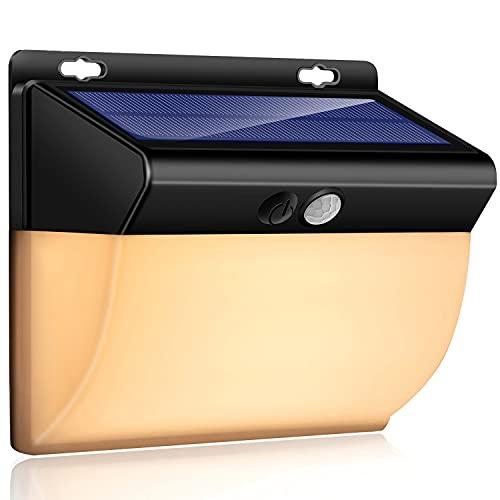 Solarlampen für Außen, 2 in 1 weißes Licht und warmes Licht 104 LED Solar Bewegungssensor Sicherheitslicht 2200 mAh Solarlicht wasserdichtes drahtloses Wandlicht Solarlicht