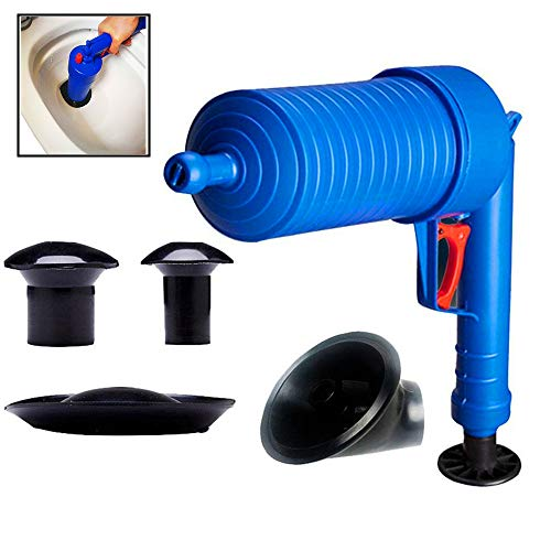 of plunger for bathtubs kbxstart Toilet Plunger, Air Drain Pump with 4 Adapters for Bath Toilets, Bathroom, Shower, Sink, Bathtub, Kitchen Clogged Pipe