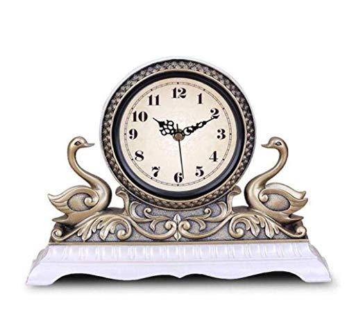 Hancoc Relojes Retro Europeos Creativos De Moda Relojes Silenciosos De Escritorio Dormitorios Relojes De Sala De Estar (Color : White)