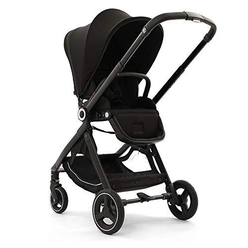 Faltbarer Kinderwagen, Hochlandkinderwagen & Zweiwege-Kinderwagen, Kinderwagen mit verstellbarem Baldachin, Ablagekorb (schwarz)