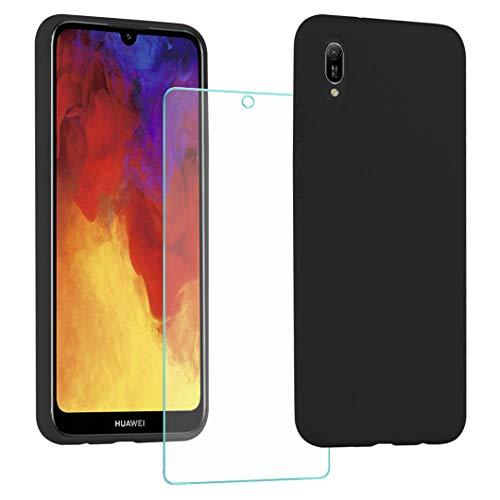 All Do Funda para Huawei Y6 2019/Y6s 2019, Protector Pantalla Cristal Templado, Carcasa de Silicona Líquida Gel Ultra Suave Funda con tapete de Microfibra Anti-Rasguño - Negro