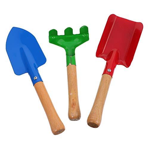TOYANDONA Juego de 3 juguetes de playa para niños con mango de madera, pala y rastrillo, caja de arena para niños