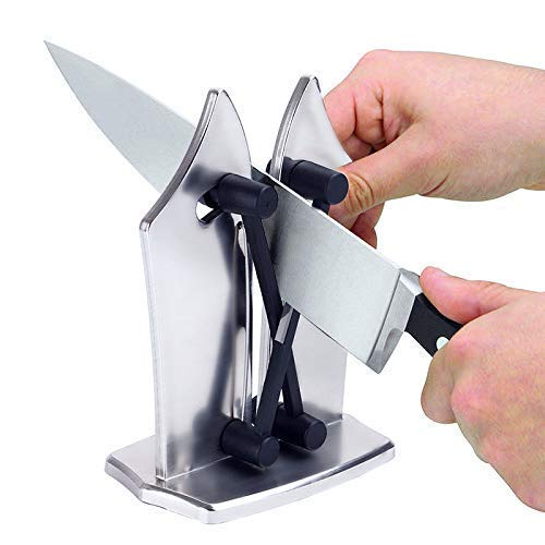 LEIJINGZI Worth having - Afilador de cuchillos - Actualización hecha de soporte de metal completo - Sharpens & Hones & Polishes Biseled Blades, Sat Andard Blades, Chef Cuchillos - Caja fuerte y fácil