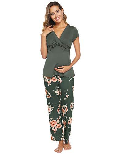 Femme Coton Ensemble de Pyjama Vêtements de Nuit Vêtements Grossesse et Maternité Vert-Floral XXL