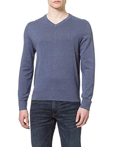 Tommy Hilfiger Herren Organic Cotton Blend V Neck Pullover, Faded Indigo Heather, L