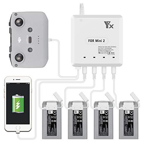 Tineer Multi Battery Charger für Mavic Mini 2 Drone, 4PC Batterieladegerät mit USB-Anschluss für Smartphone und Fernbedienung Schnellladeadapter
