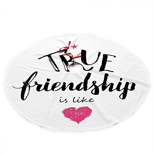 ALLdelete# Christmas Tree Skirt Weihnachtsbaumrock, Wahre Freundschaft ist wie EIN Schriftzug, der von einem rosa gekritzelten Herzsymbol vervollständigt Wird, 91 cm (36 Zoll)