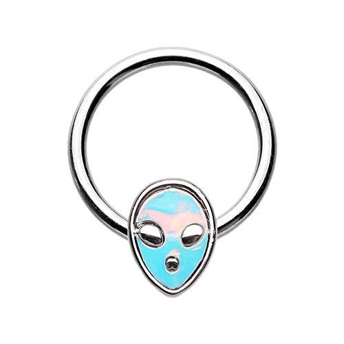 Pierced Owl 16GA Stainless Steel Blue Iridescent Alien Head Septum Cartilage Helix Tragus Daith Captive Bead Ring
