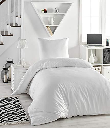Melunda 2 TLG. Mako Satin Bettwäsche Set | Bettdeckenbezug 135x200 cm mit Kopfkissenbezug 80x80 cm | Weiß | 2 teilig Bettgarnitur | Baumwolle Bettbezug mit Reißverschluss