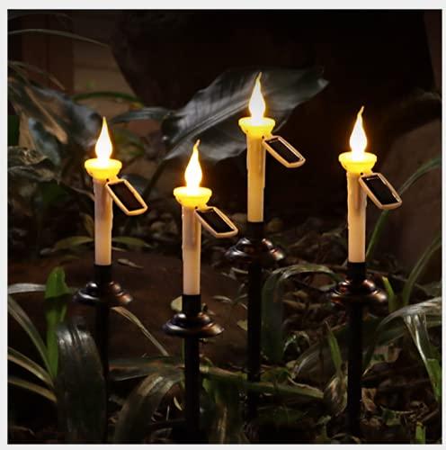 Luces solares para jardín Lámpara de estaca de Velas LED Victop Velas con pilas de 4 piezas Impermeable Luces de vela decorativas cónicas Lámpara para el camino del patio del césped del jardín casero