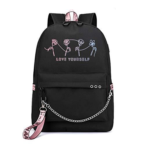JUSTGOGO KPOP BTS Bangtan Boys Rucksack Daypack Laptoptasche Schultasche Bookbag mit USB-Ladeanschluss