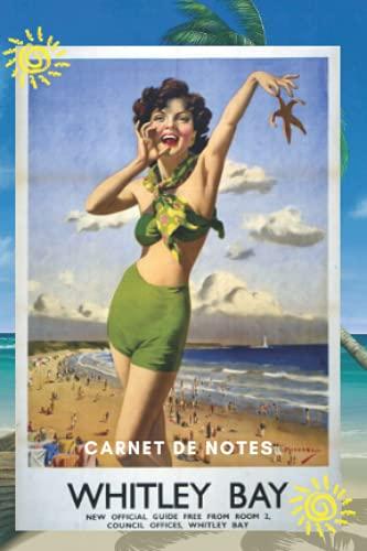 Carnet de notes: format de poche, notebook,10x15cm, 100 pages lignées sur papier crème 90g/m², affiche vintage plage.