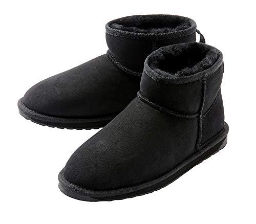emu エミュ ムートンブーツ STINGER MICRO W10937 ブラック チャコール チョコレート ブーツ レディース ムートン シープスキン (Black, W6(23.0))
