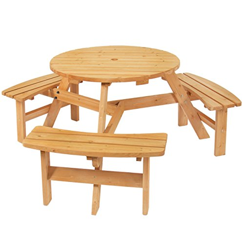 Best Choice Products 6-Person Circular Outdoor Wooden Picnic Table w/ 3 Built-in Benches and Umbrella Hole, Natural