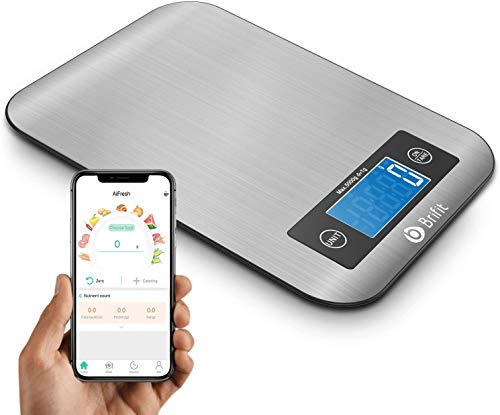 Brifit Digital Kitchen Scale, 5KG Smart Scale, Nutritional Analyser Scale, Wireless Coffee Scale, Electronic Food Weighing Scale with Nutrition Calculator for Keto, Macro, Calorie, Protein
