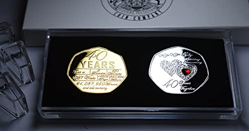 The Commemorative Coin Company Pair of For You On Your 40th RUBY WEDDING...