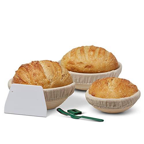 Bread Proof Basket Set - 3 Round Banneton Baskets - Linen Towel Liners, Bread Cutter, Scraper - Sourdough Baking Kit - Dough Starter - Artisan Bread Basket