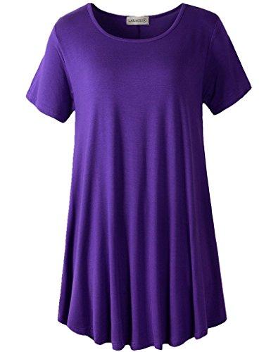 LARACE Women Short Sleeves Flare Tunic Tops for Leggings Flowy Shirt (1X, Deep Purple)